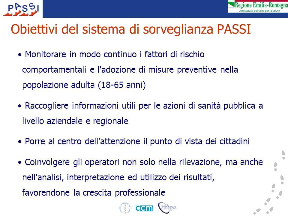 Obiettivi del sistema di sorveglianza PASSI Monitorare in modo continuo i fattori di rischio comportamentali e l'adozione di misure preventive nella p