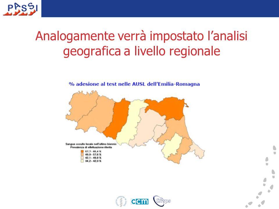 Analogamente verrà impostato lanalisi geografica a livello regionale