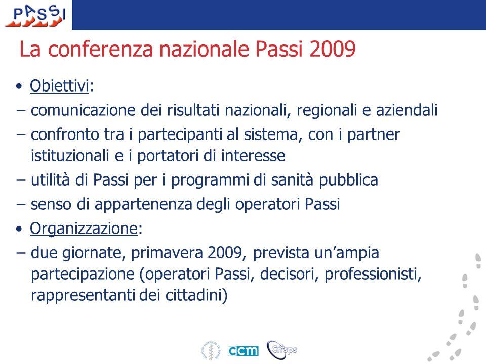 La conferenza nazionale Passi 2009 Obiettivi: –comunicazione dei risultati nazionali, regionali e aziendali –confronto tra i partecipanti al sistema,