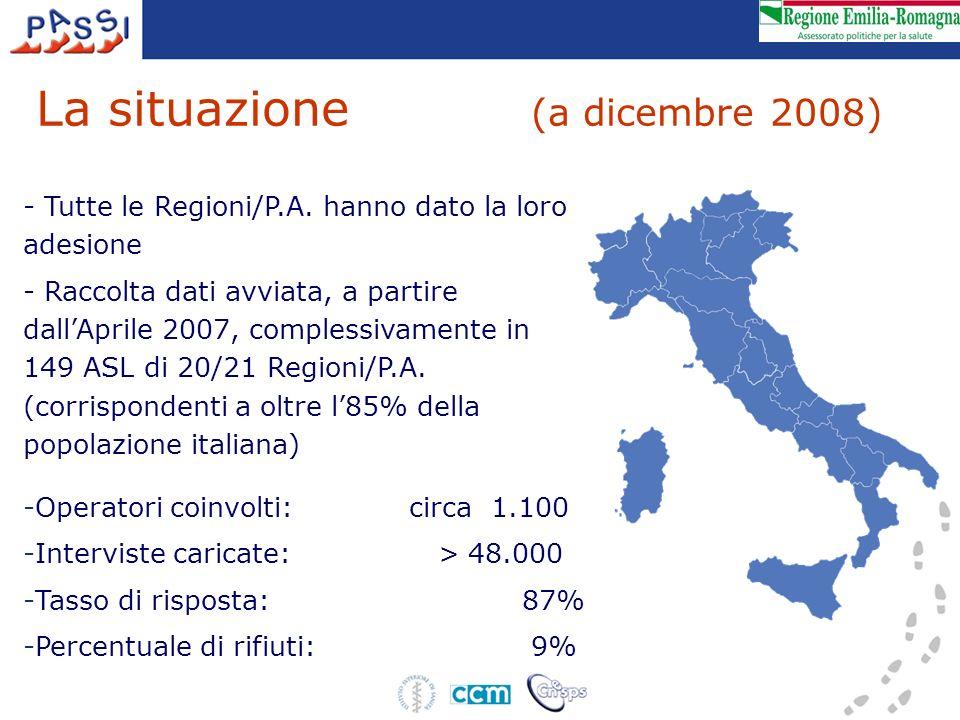 La situazione (a dicembre 2008) - Tutte le Regioni/P.A. hanno dato la loro adesione - Raccolta dati avviata, a partire dallAprile 2007, complessivamen