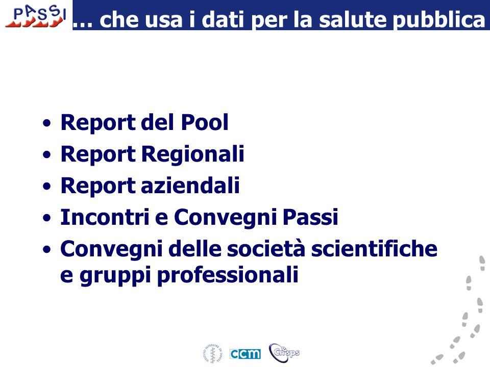 … che usa i dati per la salute pubblica Report del Pool Report Regionali Report aziendali Incontri e Convegni Passi Convegni delle società scientifiche e gruppi professionali