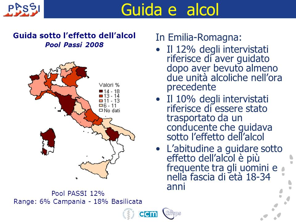 Guida e alcol In Emilia-Romagna: Il 12% degli intervistati riferisce di aver guidato dopo aver bevuto almeno due unità alcoliche nellora precedente Il