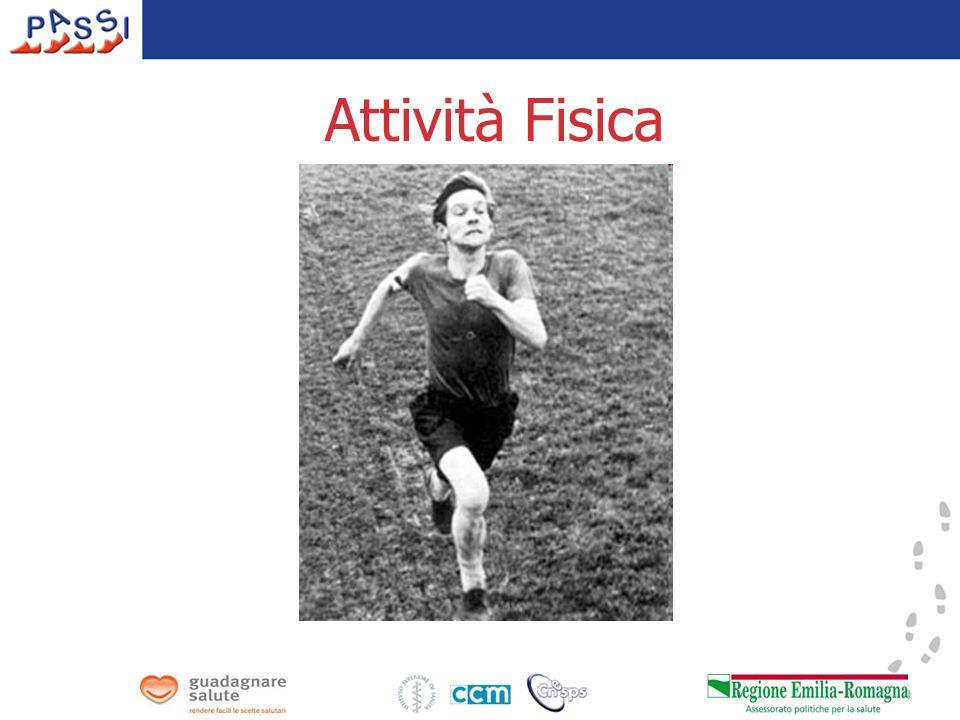 Attività fisica e sedentarietà In Regione: - circa 660mila sedentari nella fascia 18-69enni - la sedentarietà è più diffusa nei 50-69enni nelle persone meno istruite Sedentari (%) PASSI 2008 Pool PASSI 29% Range: 9% Bolzano - 49% Basilicata Emilia-Romagna
