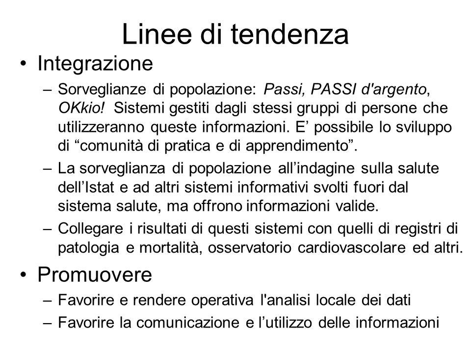 Linee di tendenza Integrazione –Sorveglianze di popolazione: Passi, PASSI d argento, OKkio.