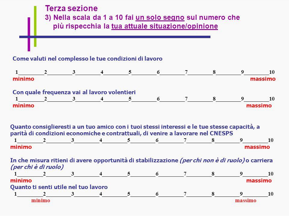 Terza sezione 3) Nella scala da 1 a 10 fai un solo segno sul numero che più rispecchia la tua attuale situazione/opinione Come valuti nel complesso le