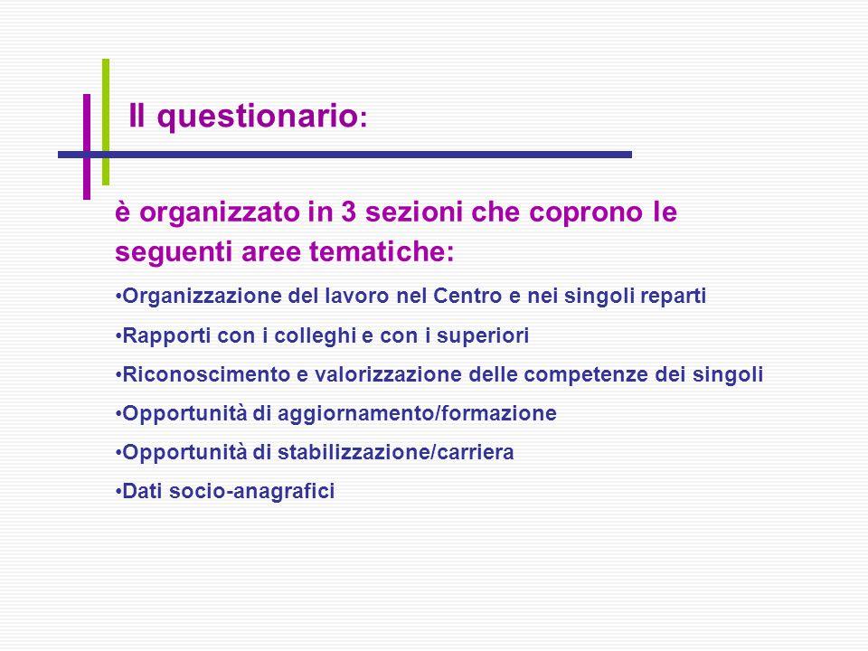 è organizzato in 3 sezioni che coprono le seguenti aree tematiche: Organizzazione del lavoro nel Centro e nei singoli reparti Rapporti con i colleghi