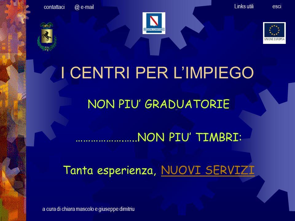 Pagina iniziale @ e-mailcontattaci Links utili esci COSA CAMBIA Dal 1° Gennaio 2002, i Centri per limpiego della Campania adottano la scheda professionale e la scheda anagrafica di cui al D.M.