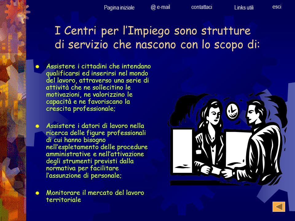 Pagina iniziale @ e-mailcontattaci Links utili esci I Centri per lImpiego sono strutture di servizio che nascono con lo scopo di: Assistere i cittadin