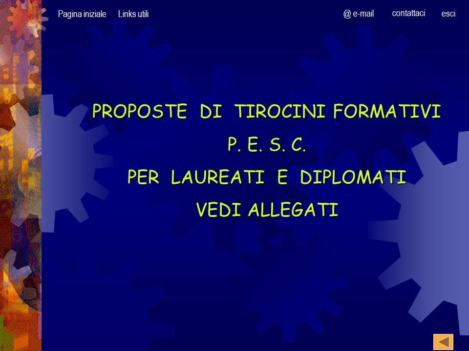 Pagina inizialeLinks utili @ e-mail contattaci esci PROPOSTE DI TIROCINI FORMATIVI P.