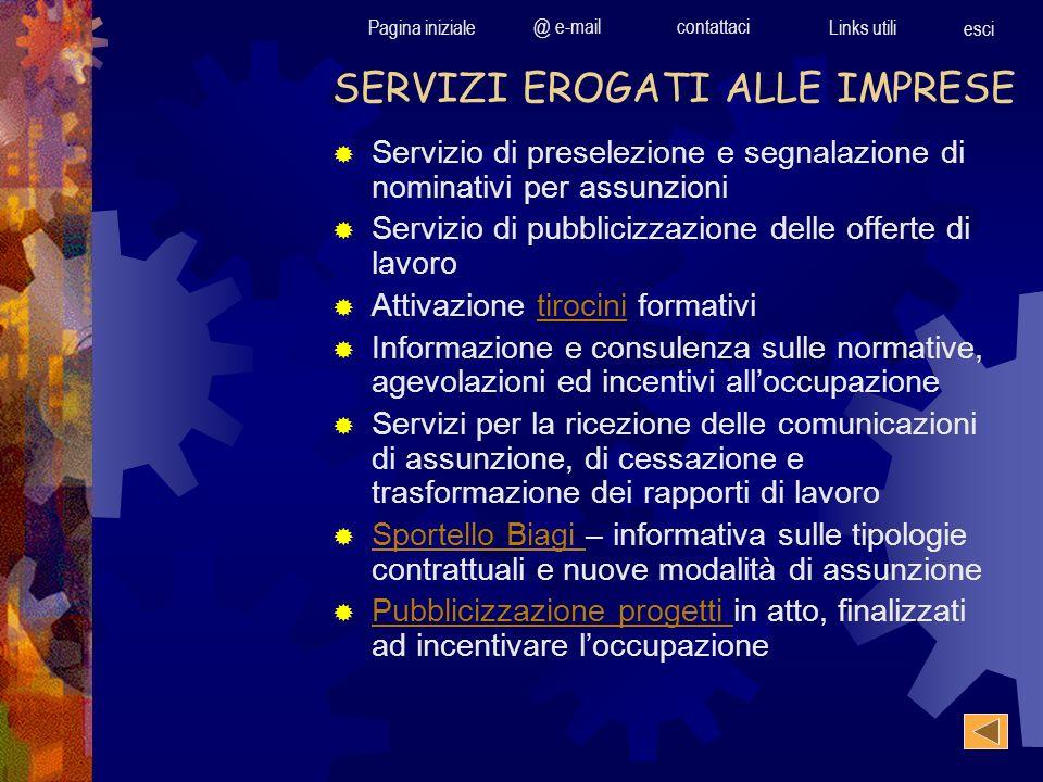 Pagina iniziale @ e-mailcontattaci Links utili esci Servizio di preselezione e segnalazione di nominativi per assunzioni Servizio di pubblicizzazione