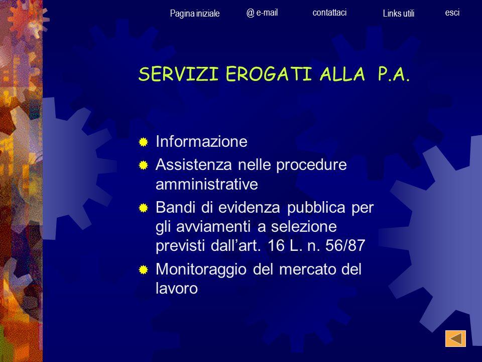 Pagina iniziale @ e-mailcontattaci Links utili esci SERVIZI EROGATI ALLA P.A. Informazione Assistenza nelle procedure amministrative Bandi di evidenza