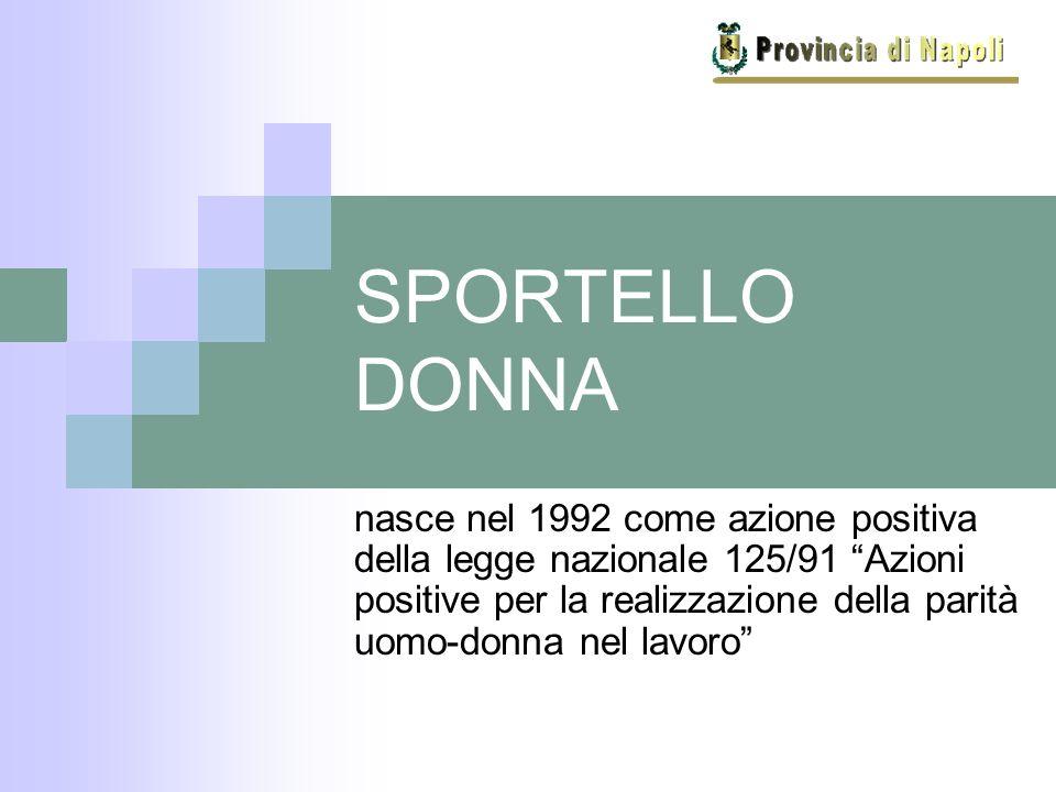 SPORTELLO DONNA nasce nel 1992 come azione positiva della legge nazionale 125/91 Azioni positive per la realizzazione della parità uomo-donna nel lavoro