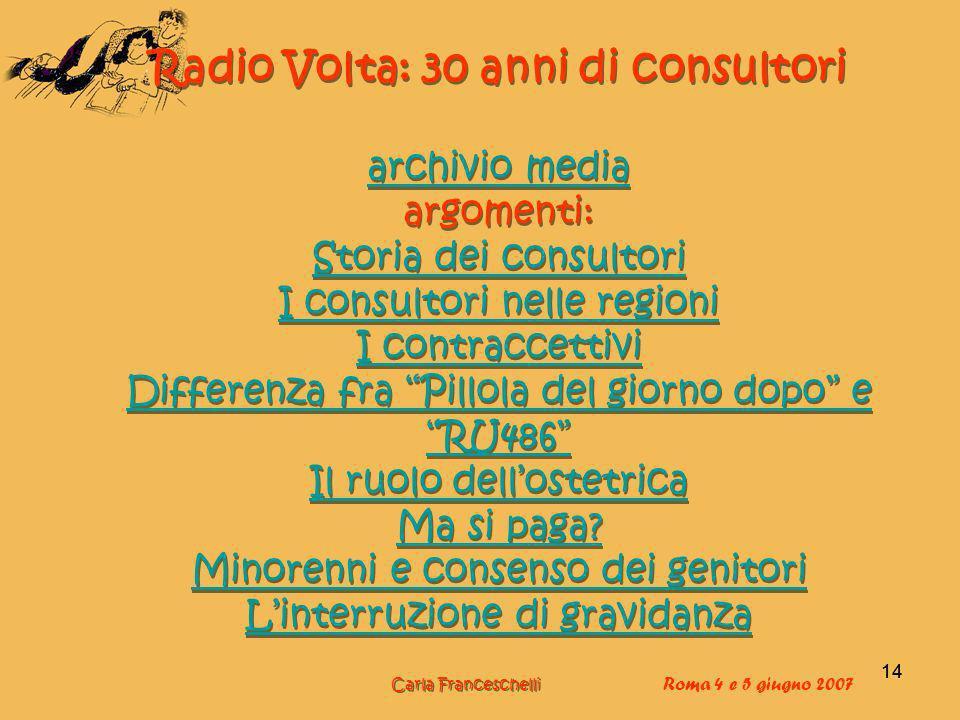14 Radio Volta: 30 anni di consultori archivio media argomenti: Storia dei consultori I consultori nelle regioni I contraccettivi Differenza fra Pillola del giorno dopo e RU486 Il ruolo dellostetrica Ma si paga.