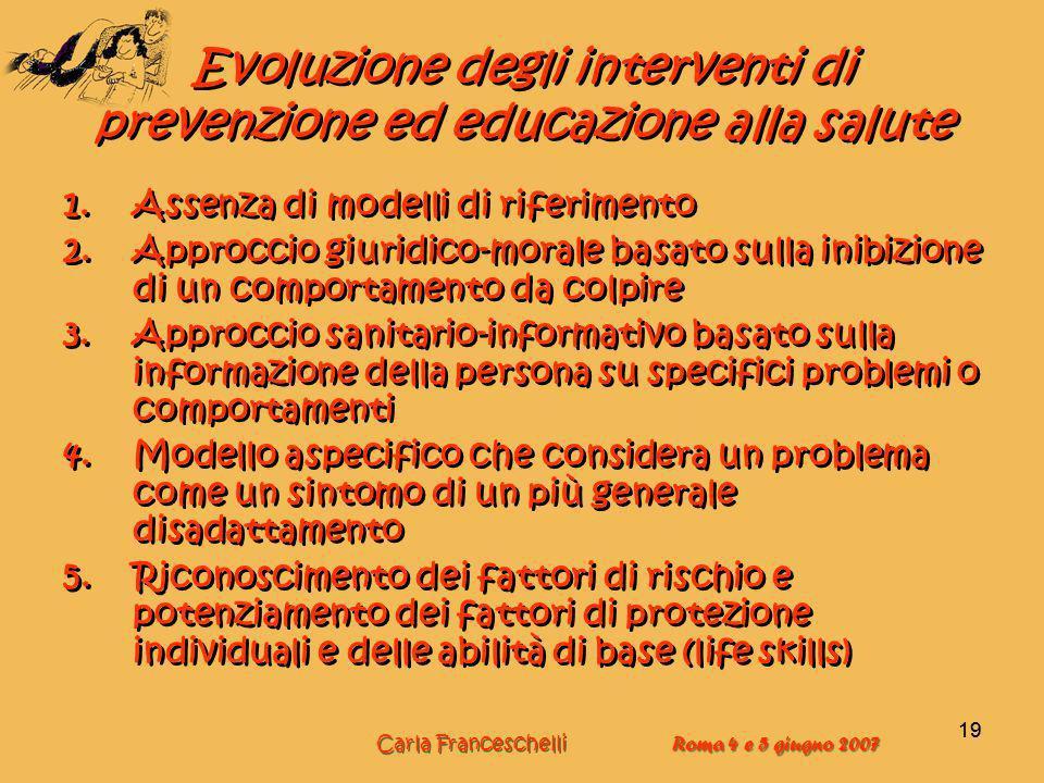 19 Evoluzione degli interventi di prevenzione ed educazione alla salute 1.Assenza di modelli di riferimento 2.Approccio giuridico-morale basato sulla