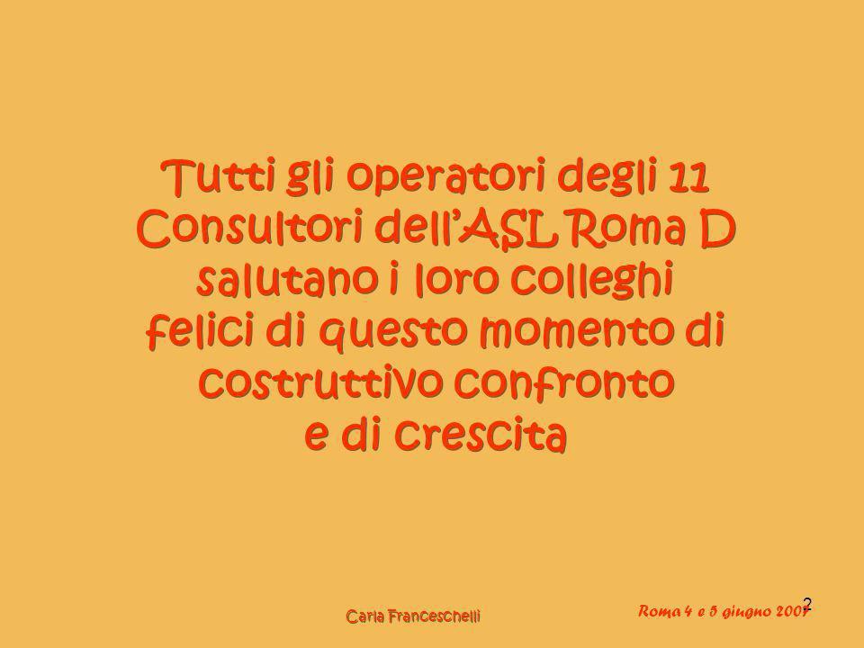 2 Tutti gli operatori degli 11 Consultori dellASL Roma D salutano i loro colleghi felici di questo momento di costruttivo confronto e di crescita Carla Franceschelli Roma 4 e 5 giugno 2007
