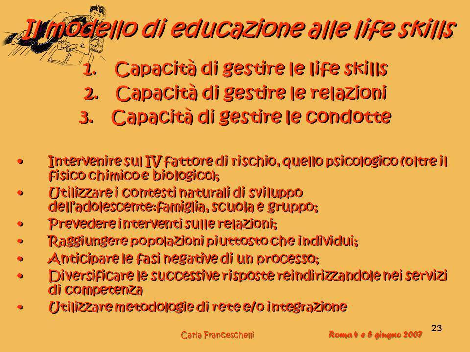 23 Il modello di educazione alle life skills 1.Capacità di gestire le life skills 2.Capacità di gestire le relazioni 3.Capacità di gestire le condotte