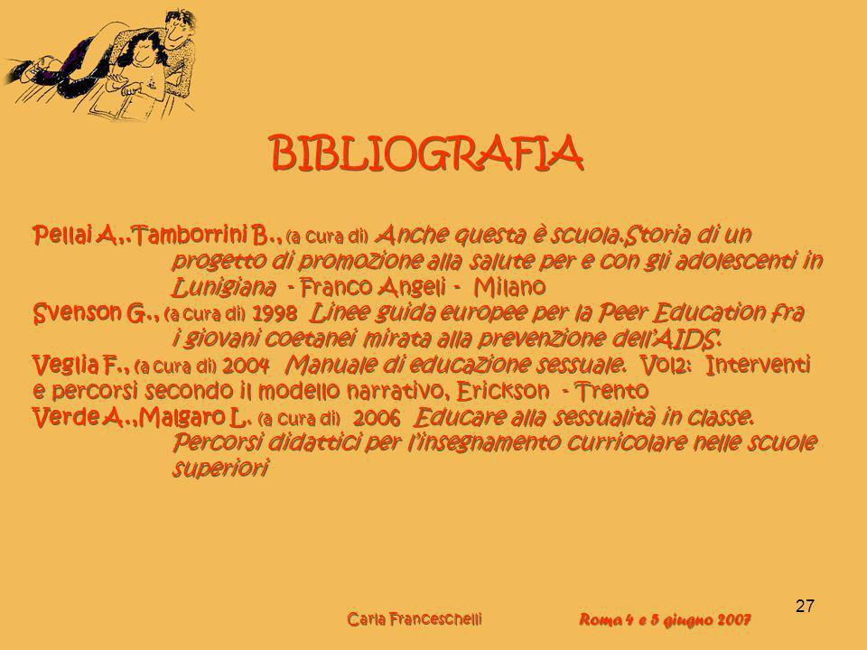 27 BIBLIOGRAFIA Pellai A,.Tamborrini B., (a cura di) Anche questa è scuola.Storia di un progetto di promozione alla salute per e con gli adolescenti i