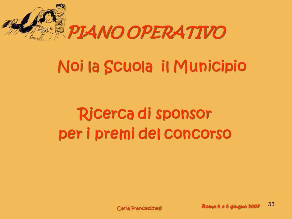 33 PIANO OPERATIVO Ricerca di sponsor per i premi del concorso Ricerca di sponsor per i premi del concorso Noi la Scuola il Municipio Carla Franceschelli Roma 4 e 5 giugno 2007