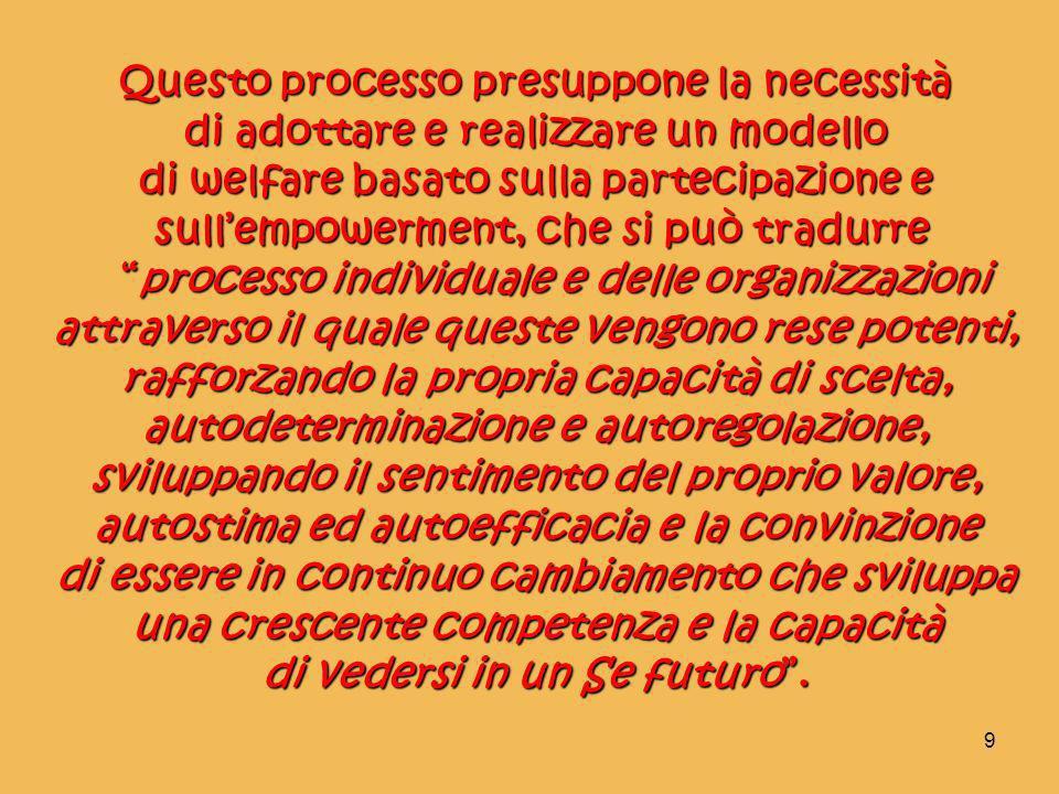 9 Questo processo presuppone la necessità di adottare e realizzare un modello di welfare basato sulla partecipazione e sullempowerment, che si può tra