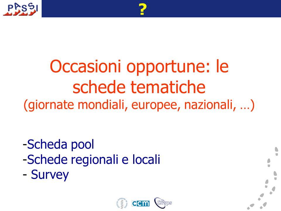 Occasioni opportune: le schede tematiche (giornate mondiali, europee, nazionali, …) -Scheda pool -Schede regionali e locali - Survey ?