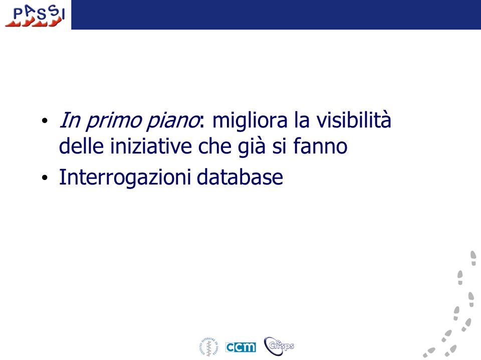 In primo piano: migliora la visibilità delle iniziative che già si fanno Interrogazioni database