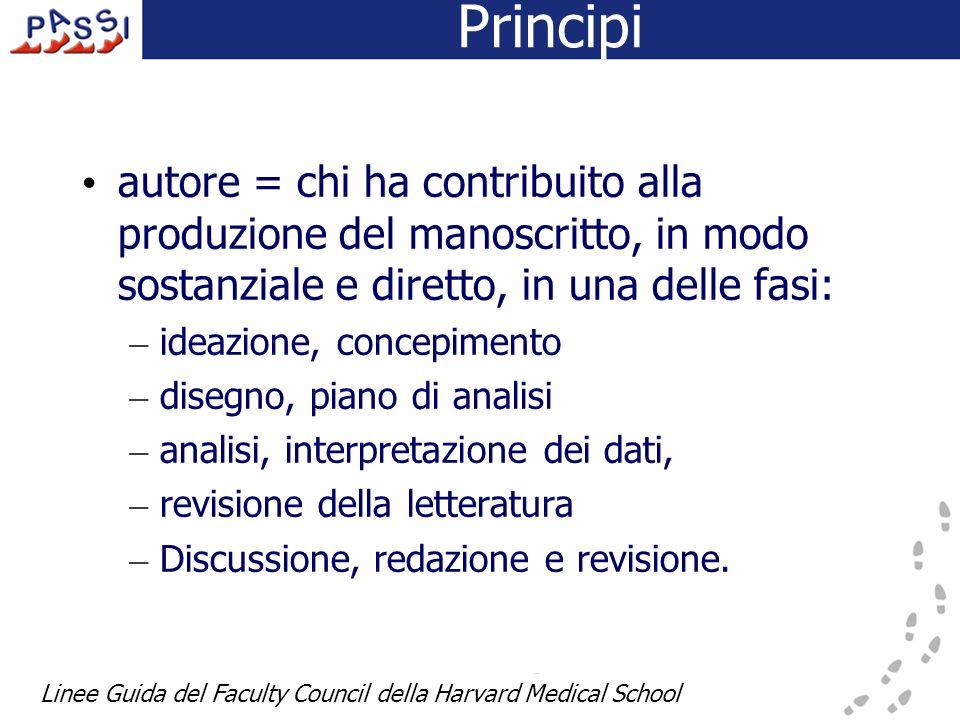 Principi autore = chi ha contribuito alla produzione del manoscritto, in modo sostanziale e diretto, in una delle fasi: – ideazione, concepimento – di