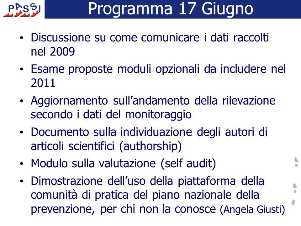 Programma 17 Giugno Discussione su come comunicare i dati raccolti nel 2009 Esame proposte moduli opzionali da includere nel 2011 Aggiornamento sullan