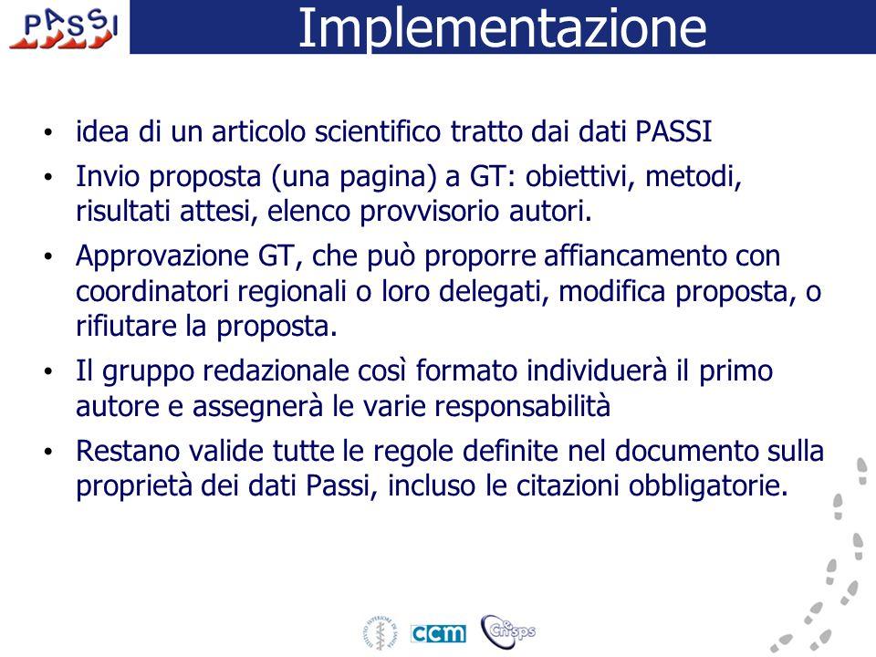 Implementazione idea di un articolo scientifico tratto dai dati PASSI Invio proposta (una pagina) a GT: obiettivi, metodi, risultati attesi, elenco pr