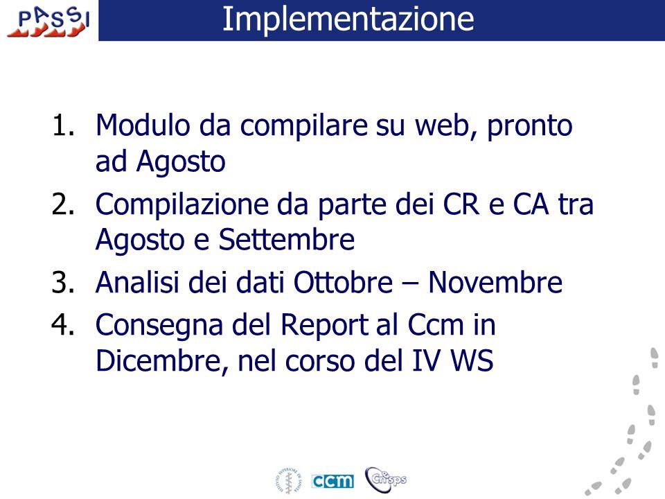 Implementazione 1.Modulo da compilare su web, pronto ad Agosto 2.Compilazione da parte dei CR e CA tra Agosto e Settembre 3.Analisi dei dati Ottobre –