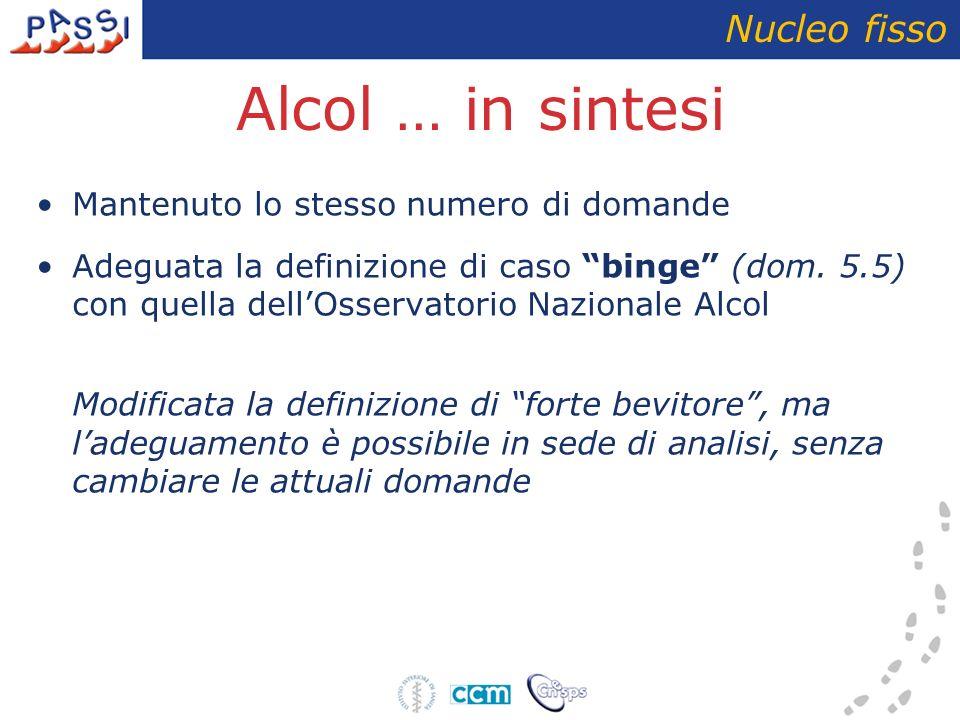 SEZIONE 5: Assunzione di alcol Modifica della domanda sul binge drinking, con soglia differenziata per sesso Nucleo fisso