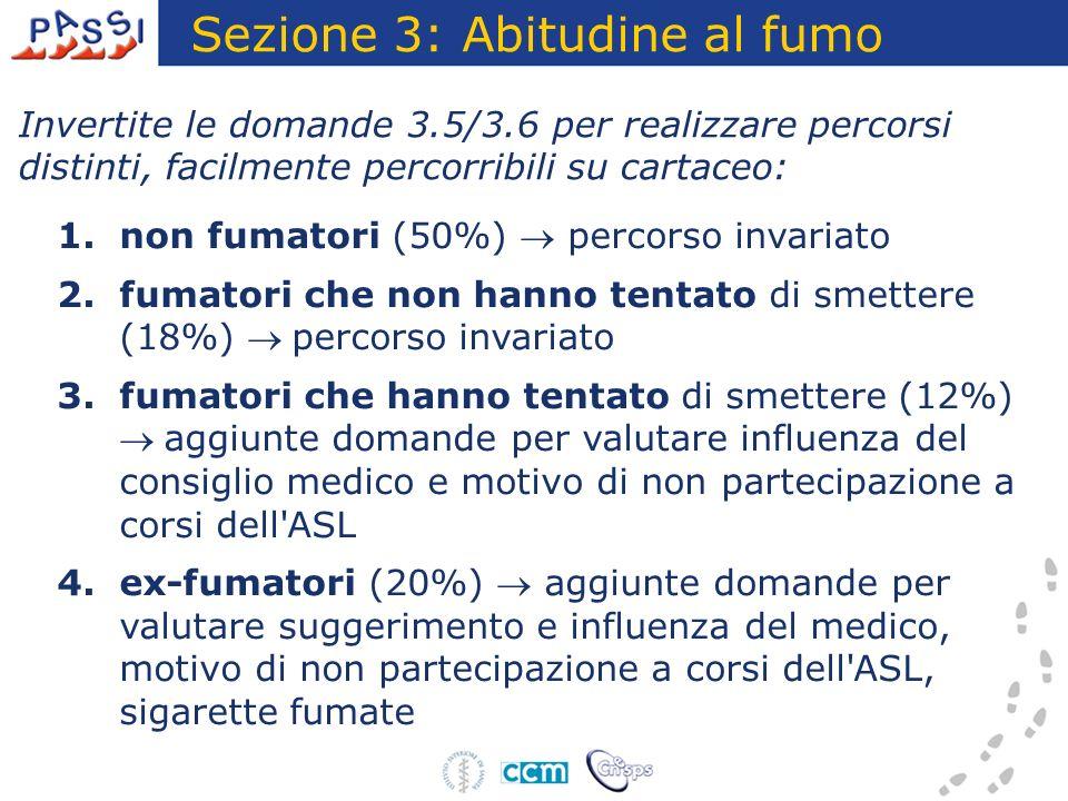 Fumatori che hanno tentato di smettere (1) Sezione 3: Abitudine al fumo