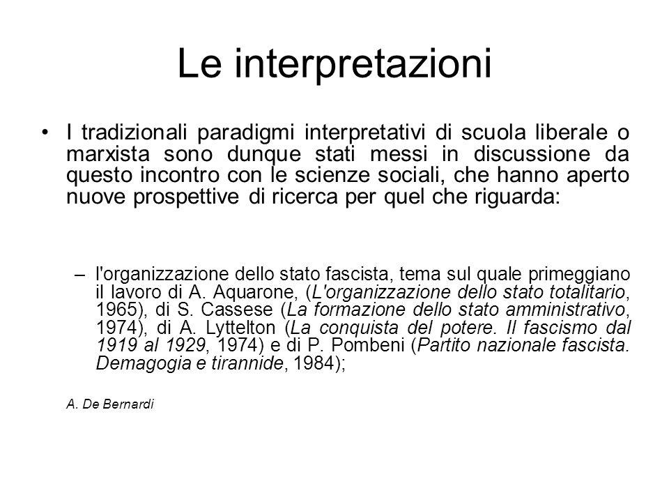 Le interpretazioni I tradizionali paradigmi interpretativi di scuola liberale o marxista sono dunque stati messi in discussione da questo incontro con