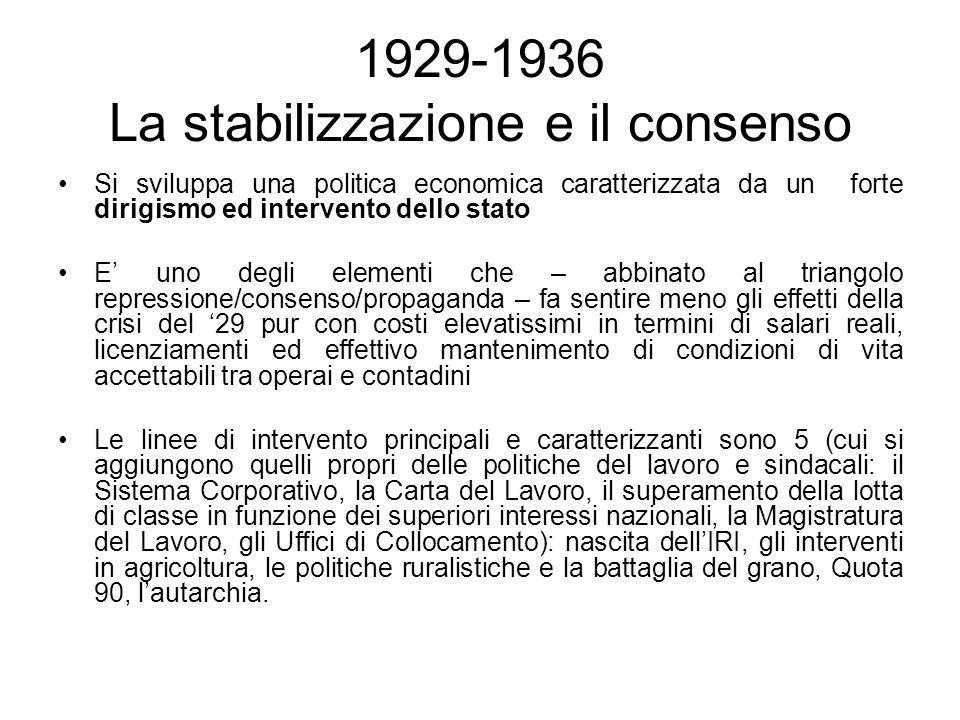1929-1936 La stabilizzazione e il consenso Si sviluppa una politica economica caratterizzata da un forte dirigismo ed intervento dello stato E uno deg