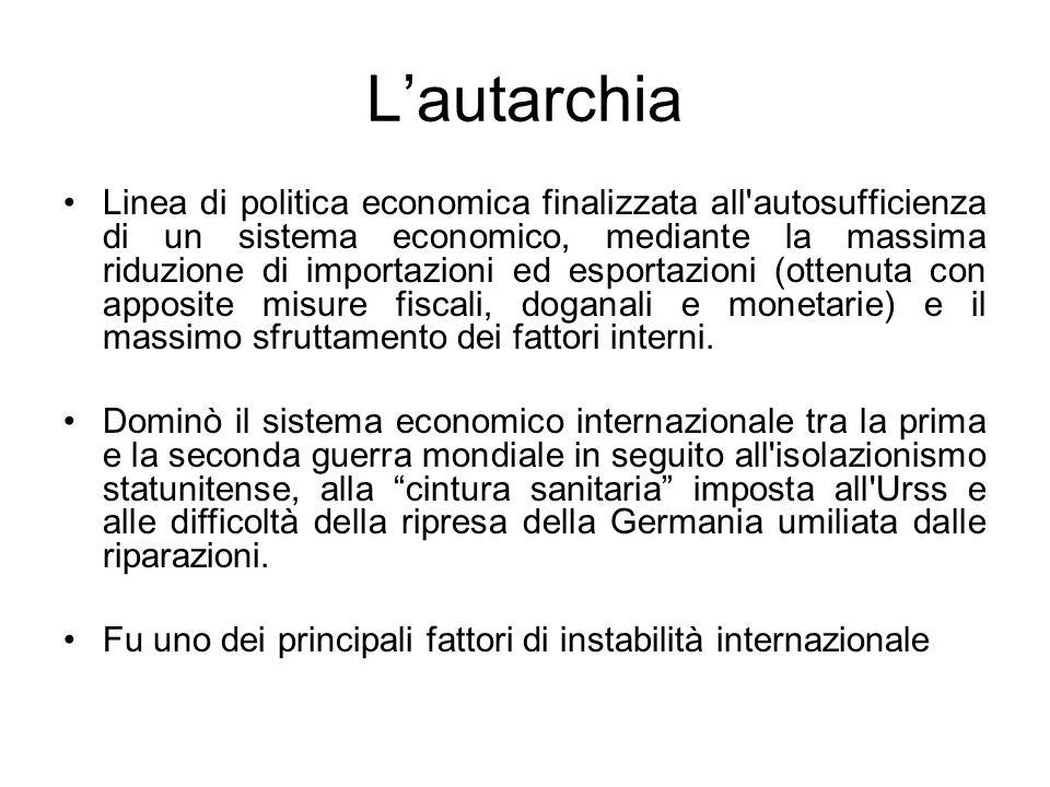 Lautarchia Linea di politica economica finalizzata all'autosufficienza di un sistema economico, mediante la massima riduzione di importazioni ed espor