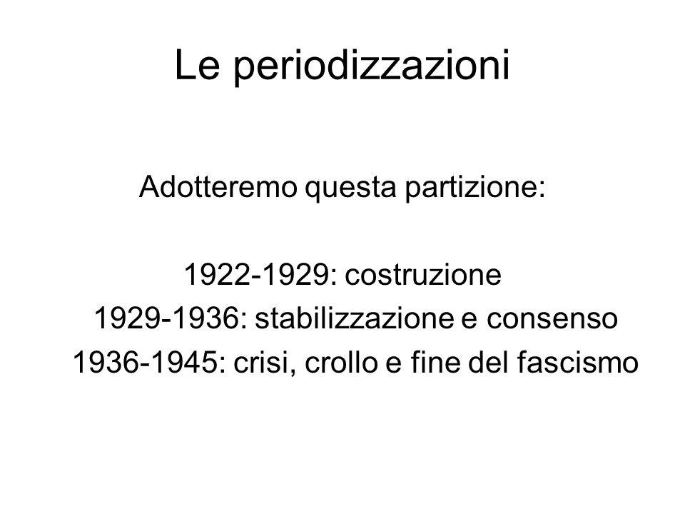 Le periodizzazioni Adotteremo questa partizione: 1922-1929: costruzione 1929-1936: stabilizzazione e consenso 1936-1945: crisi, crollo e fine del fasc