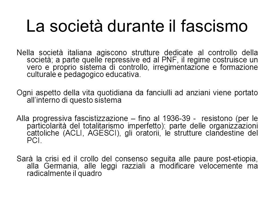 Nella società italiana agiscono strutture dedicate al controllo della società; a parte quelle repressive ed al PNF, il regime costruisce un vero e pro