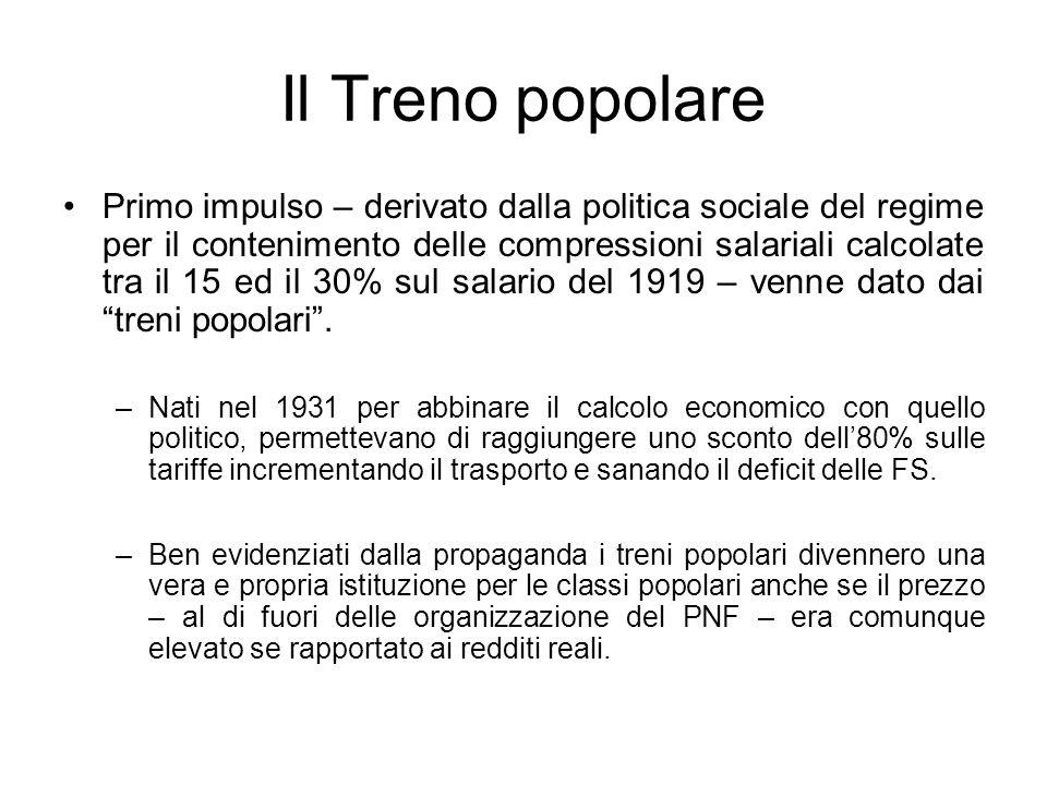 Il Treno popolare Primo impulso – derivato dalla politica sociale del regime per il contenimento delle compressioni salariali calcolate tra il 15 ed i