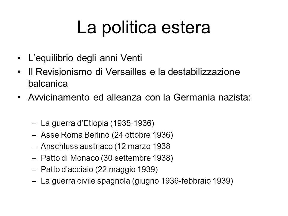 La politica estera Lequilibrio degli anni Venti Il Revisionismo di Versailles e la destabilizzazione balcanica Avvicinamento ed alleanza con la German