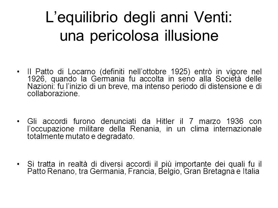 Lequilibrio degli anni Venti: una pericolosa illusione Il Patto di Locarno (definiti nellottobre 1925) entrò in vigore nel 1926, quando la Germania fu