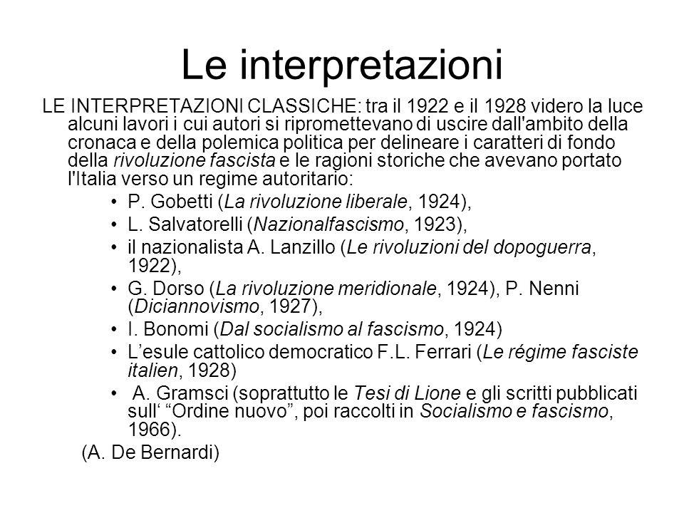 Le interpretazioni LE INTERPRETAZIONI CLASSICHE: tra il 1922 e il 1928 videro la luce alcuni lavori i cui autori si ripromettevano di uscire dall'ambi