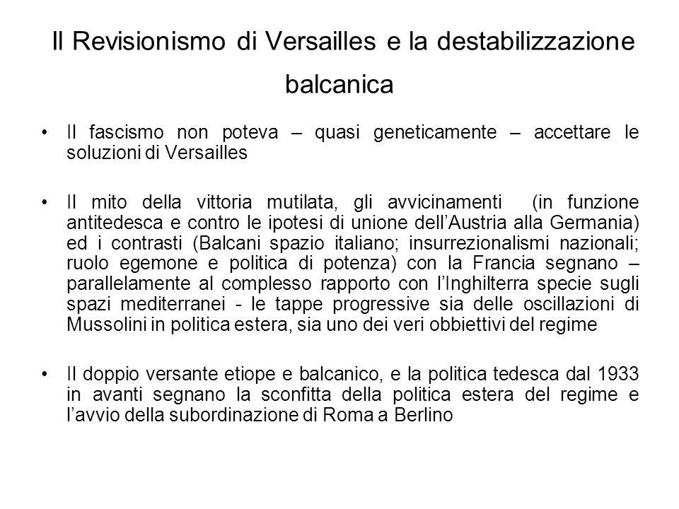 Il Revisionismo di Versailles e la destabilizzazione balcanica Il fascismo non poteva – quasi geneticamente – accettare le soluzioni di Versailles Il