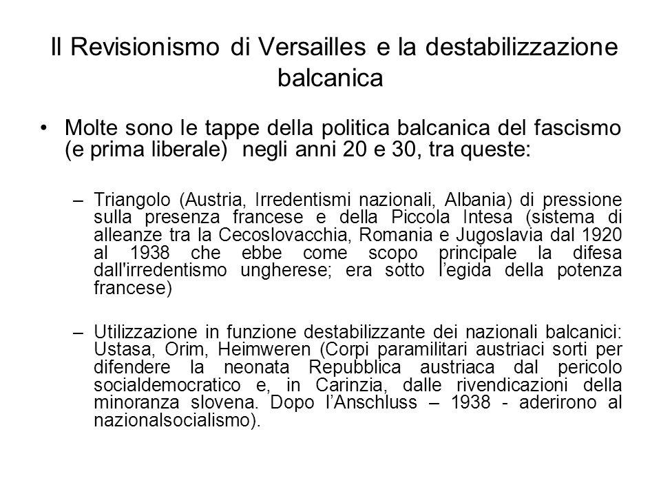 Il Revisionismo di Versailles e la destabilizzazione balcanica Molte sono le tappe della politica balcanica del fascismo (e prima liberale) negli anni