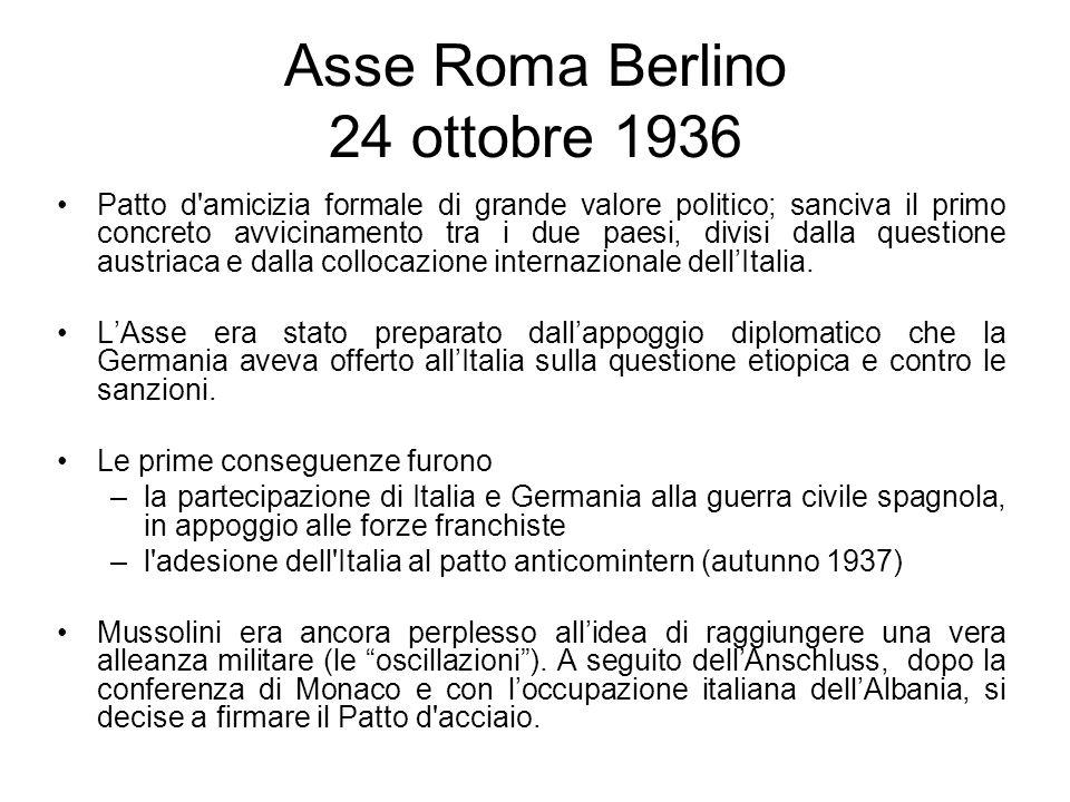 Asse Roma Berlino 24 ottobre 1936 Patto d'amicizia formale di grande valore politico; sanciva il primo concreto avvicinamento tra i due paesi, divisi