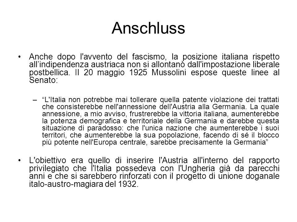 Anschluss Anche dopo l'avvento del fascismo, la posizione italiana rispetto allindipendenza austriaca non si allontanò dall'impostazione liberale post