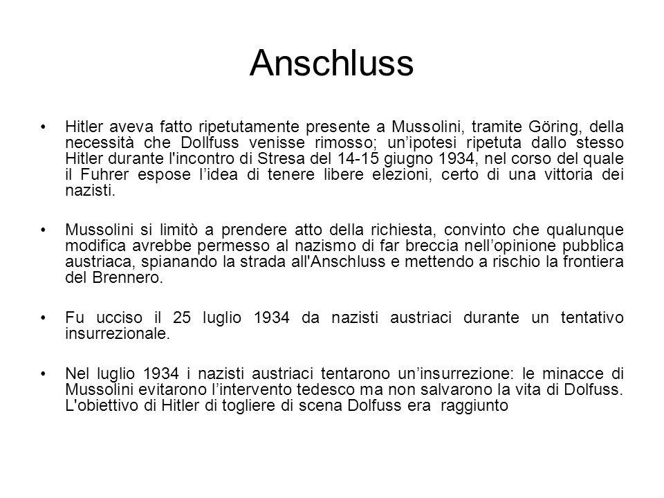 Anschluss Hitler aveva fatto ripetutamente presente a Mussolini, tramite Göring, della necessità che Dollfuss venisse rimosso; unipotesi ripetuta dall