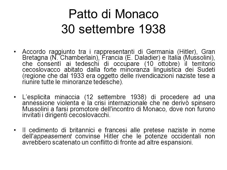 Patto di Monaco 30 settembre 1938 Accordo raggiunto tra i rappresentanti di Germania (Hitler), Gran Bretagna (N. Chamberlain), Francia (E. Daladier) e