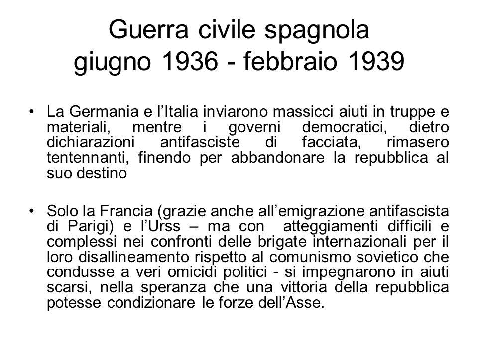 Guerra civile spagnola giugno 1936 - febbraio 1939 La Germania e lItalia inviarono massicci aiuti in truppe e materiali, mentre i governi democratici,