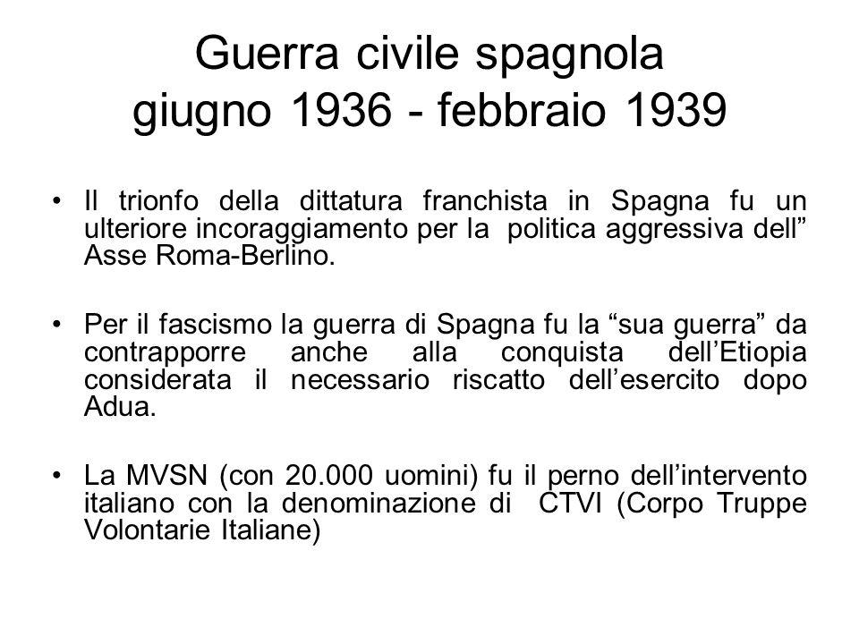 Guerra civile spagnola giugno 1936 - febbraio 1939 Il trionfo della dittatura franchista in Spagna fu un ulteriore incoraggiamento per la politica agg