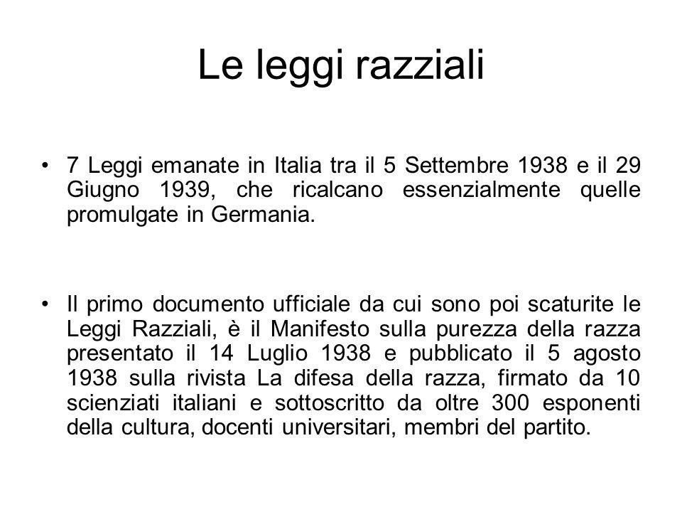 Le leggi razziali 7 Leggi emanate in Italia tra il 5 Settembre 1938 e il 29 Giugno 1939, che ricalcano essenzialmente quelle promulgate in Germania. I
