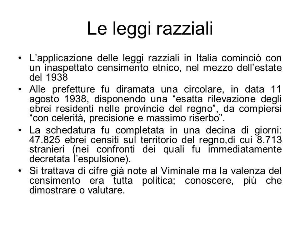 Le leggi razziali Lapplicazione delle leggi razziali in Italia cominciò con un inaspettato censimento etnico, nel mezzo dellestate del 1938 Alle prefe